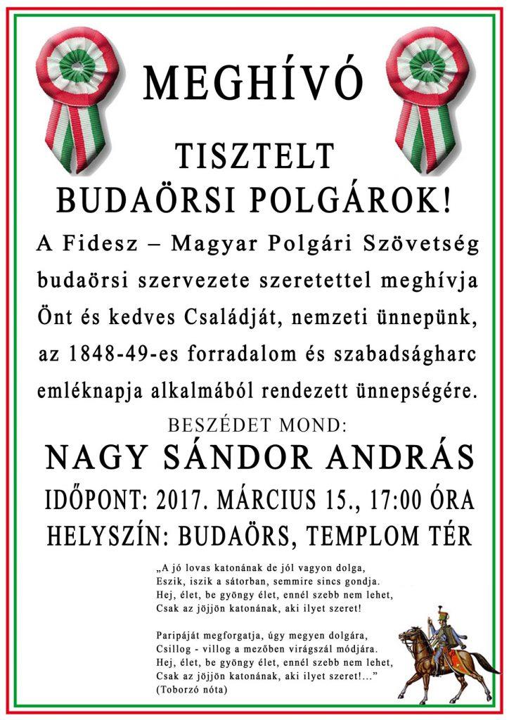 Március 15-ei ünnepség Budaörsön